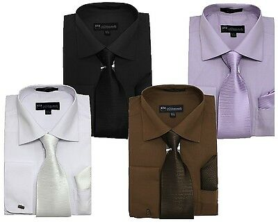 Men's Solid Dress Shirt French Cuff w/ Matching Tie & Hanky #27 Black, White