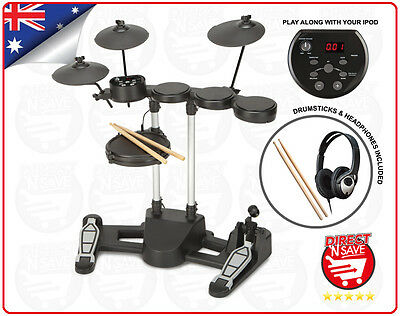 Electronic Drumkit Digital Full Kit Headphones Drumsticks USB cord AUX input NEW
