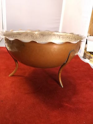 Awesome Old Vtg Arts & Crafts Style 3-Legged Bowl, Hammered Sides, Wavy Rim, Vgc
