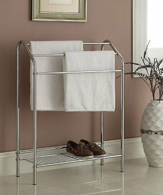 Chrome Finish Towel Bathroom Rack Stand Shelf by eHomeProducts NEW