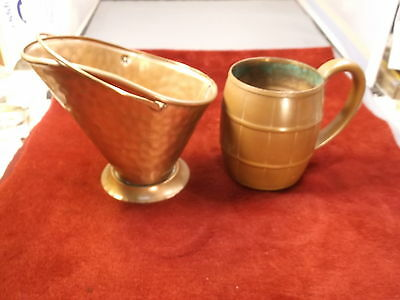 "Nice Pair Of Older Vtg Solid Copper Decor Pieces, Wb ""barrel"" Mug, Usa 'scoop'"