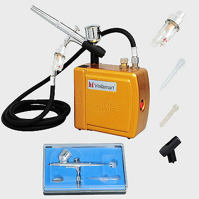 New Airbrush Dual Action Air Brush Compressor Kit Make Up Cake Decorating Gold
