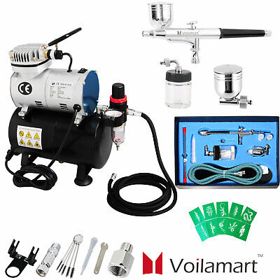 Voilamart 1/6hp Airbrush Compressor 7/22cc Dual Action Air Brush Gun Craft Art