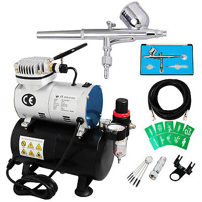 Dual Action Airbrush 1/6hp Compressor Kit Air Brush Gun Spray Cake Decoration