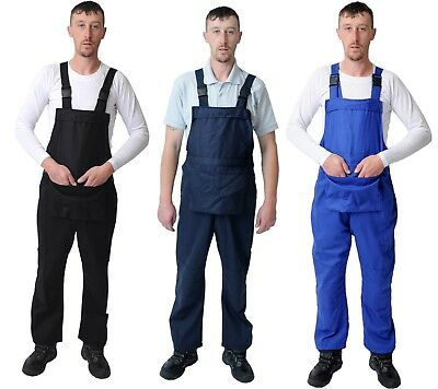 White Navy Men's Bib and Brace Overalls.  Dungarees Coveralls Warehouse coats