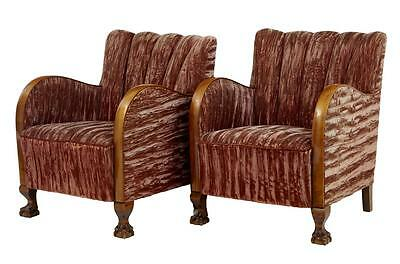 Pair Of Birch Art Deco Shell Back Lounge Armchairs