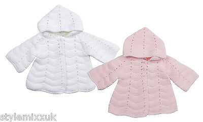 Baby Girls White Pink Hooded Chunky Crochet Knitted Cardigan Jumper Top 0-6 MTHS