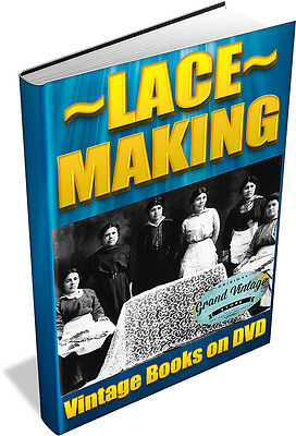 LACE MAKING ~ Vintage Books on DVD ~ Patterns,Teneriffe,Honiton,Medici,Bobbin