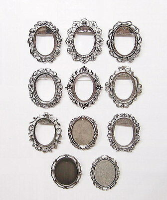 11 Different 40x30 mm Antique Silver Victorian Deco Brooch Pin Pendant Settings