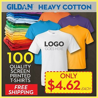 1e85c3380c8 100 Custom Printed T-Shirts Screen Printing Cheapest   lowest price on ebay!