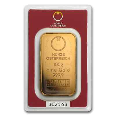 100 gram Austrian Mint Gold Bar - In Assay - SKU #78380