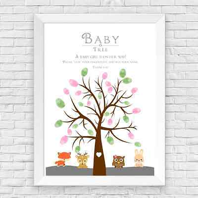 A4 Personalised Baby Shower Girl Woodland Creature Finger Print Tree Game