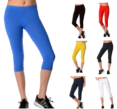 Womens Cropped Length Leggings Quality 95% Cotton Run Gym Active Sports Various