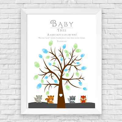A4 Personalised Baby Shower Boy Woodland Creature Finger Print Tree Game