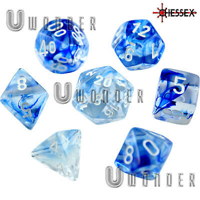 set 7 dadi Chessex NEBULOSA BLU Scuro e BIANCO Nebula Dark Blue D&D RPG 27466