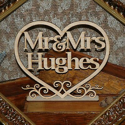 Wooden Rustic Personalised Bridal Table Sign. Mr & Mrs love heart wedding decor