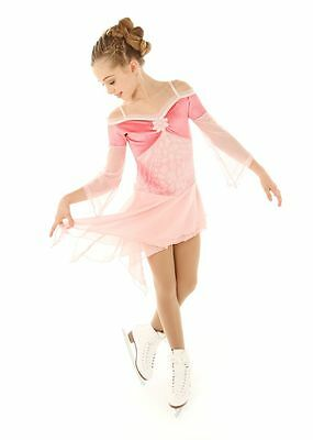 New Competition Skating Dress Elite Xpression 1344 PEACH Silver Twinkle AS SMALL