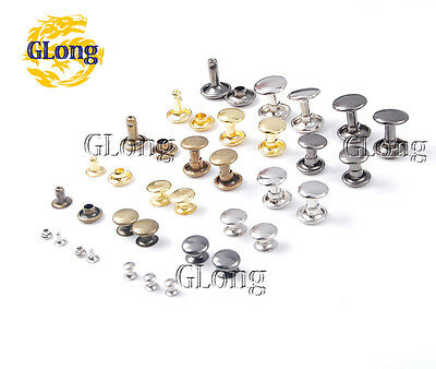 3~10mm Metal Double Rivet Stud Spike Collision Nail For DIY Leathercraft Bags