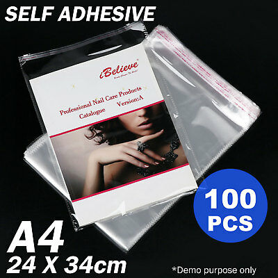 100x A4 Cello Bags Cellophane Clear Resealable Plastic Self Seal Adhesive Bag