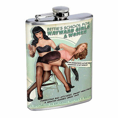 Vintage Poster D47 Flask 8oz Stainless Steel Bettie's School Wayward Girls Women