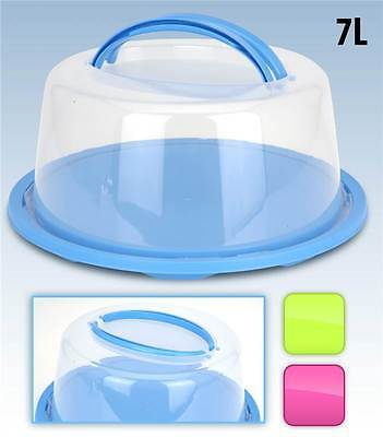 Large Round Portable Cake Tray Carrier Holder Caddy Transporter Carry Handles