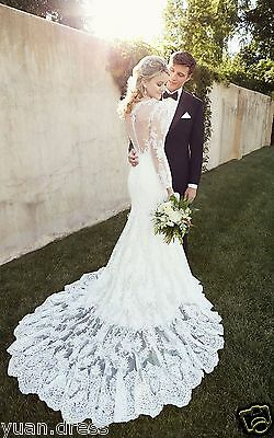 New Lace Long Sleeve Transparent Backless Mermaid Wedding Dresses Bridal Gown