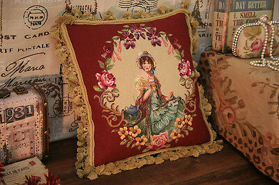 "16"" Victorian Lady In Floral Garland Needlepoint Petit Point Pillow Cushion"