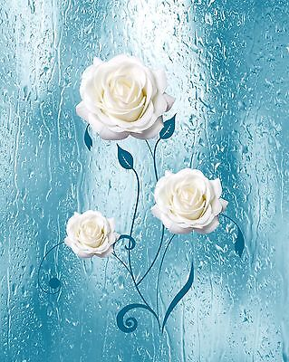 Teal White Wall Art Photo Print Home Bath Decor Bathroom Bedroom Floral Picture
