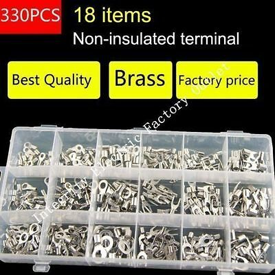 Non-Insulated Ring Fork U-type Terminal Kit Electrical Crimp Spade Lug Connector