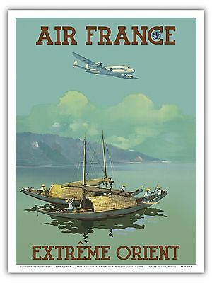 Extrême Orient Far East Vietnam Vintage Airline Travel Art Poster Print