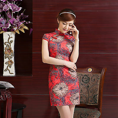 Traditional OrientaChinese Cheongsam Cheong-Sam Qipao Dress Red w flowers