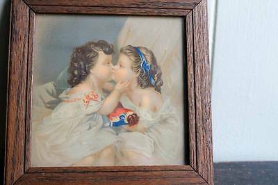 Antique Victorian Lithograph Original Frame Girls Kissing