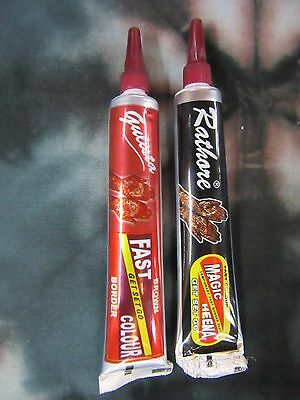 x 2 Indian Fast Henna Tubes Brown + Black, Temporary Body Art Design Easy Tattoo