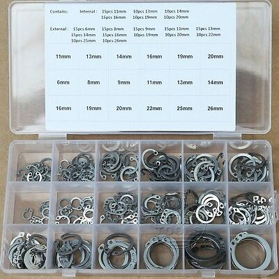 225Pcs 18 Kinds Stainless Steel Circlip Retaining Ring Snap Ring Assortment Kit