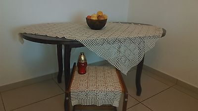 Vintage French style handmade / hand made crochet coverlet tablecloth
