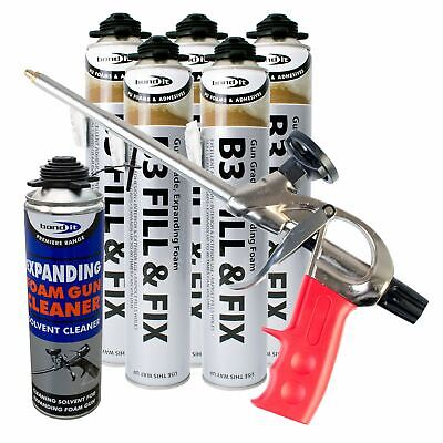 Expanding Foam Kit PU Polyurethane Professional Gun 5 x Cans 1 x Cleaner Kit 1A