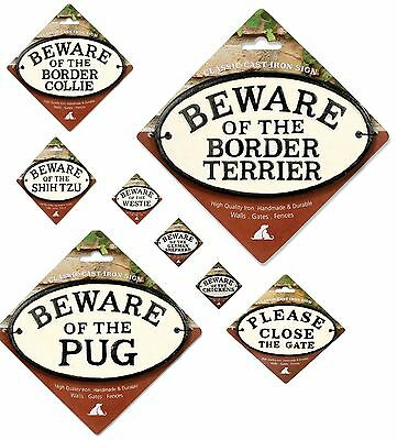 Dog / Text Oval Warning Cast Iron Signs
