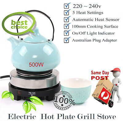 500W Electric Hot Plate Portable Cooker Stove Cooktop Tea Coffee Heater Au Plug