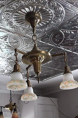 3 Arm Light Fixture , Mission Or Art And Craft Style , Reverse Painted Shade