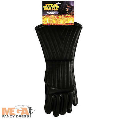 Darth Vader Mens Black Gloves Star Wars Fancy Dress Adult Costume Accessory New