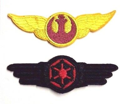 "Star Wars Rebel/Imperial Wing Logo 3"" Patch Set of 2- FREE S&H (SWPA-FC-15-Set)"