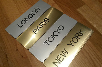 Engraved World/City Clock Time Zone Sign with Self Adhesive Backing and Free P&P