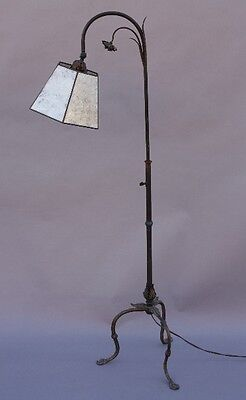 1920s Adjustable Floor Lamp w Floral Acanthus Mica Shade Antique Light (8952)