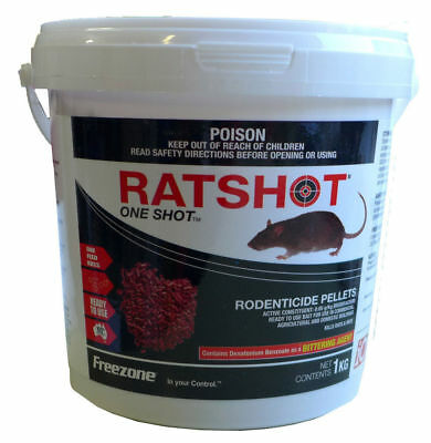 Ratshot One Shot PELLET Rat Mouse Rodent Poison Bait Brodifacoum ONE Feed 1kg