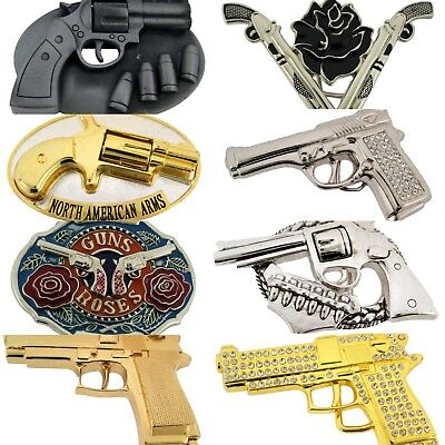 Fake Gun Belt Buckle Silver Metal Fashion Halloween Costume Gothic Tattoo Rodeo