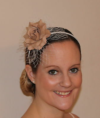 Latte Mocha Coffee Brown Rose Net Flower Feather Fascinator Hair band Headband
