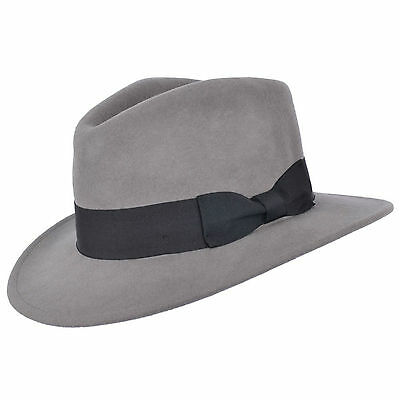 Mens Crushable Indiana 100% Wool Felt Fedora Trilby Hat With Wide Band