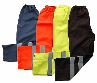 Hi Vis Viz Visibility Safety  Work Wear Over ElasticTrousers Waterproof Pants