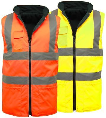 Hi Viz Vis Visibility Fleece Reversible Body Warmer Sleeveless Waistcoat