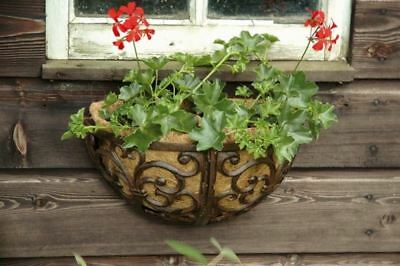 Cast Iron Ornate Hayrack Planter with Coir Liner.  35cm wide